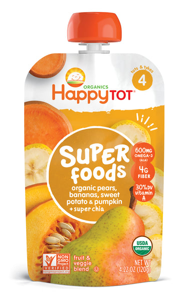 Happy Family Happy Tot Superfoods - Pears, Bananas, Sweet Potato & Pumpkin, 120 g.