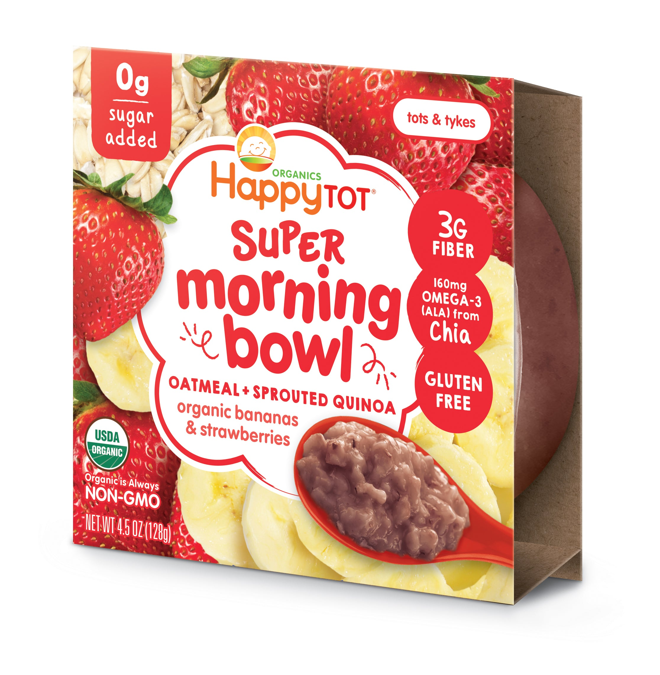 Happy Family Happy Tot Super Morning Oatmeal Bowl - Bananas & Strawberries, 128 g.