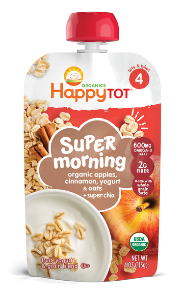 Happy Family Happy Tot Super Morning - Apples, Cinnamon, Yogurt & Oats, 113 g.