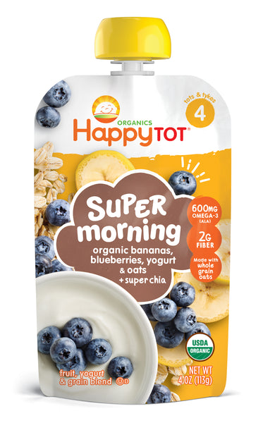 Happy Family Happy Tot Super Morning - Banana, Blueberry, Yogurt & Oats, 113 g.