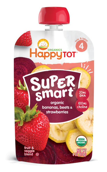 Happy Family Happy Tot Super Smart - Bananas Beets & Strawberries, 113 g. (Exp: Aug2020)