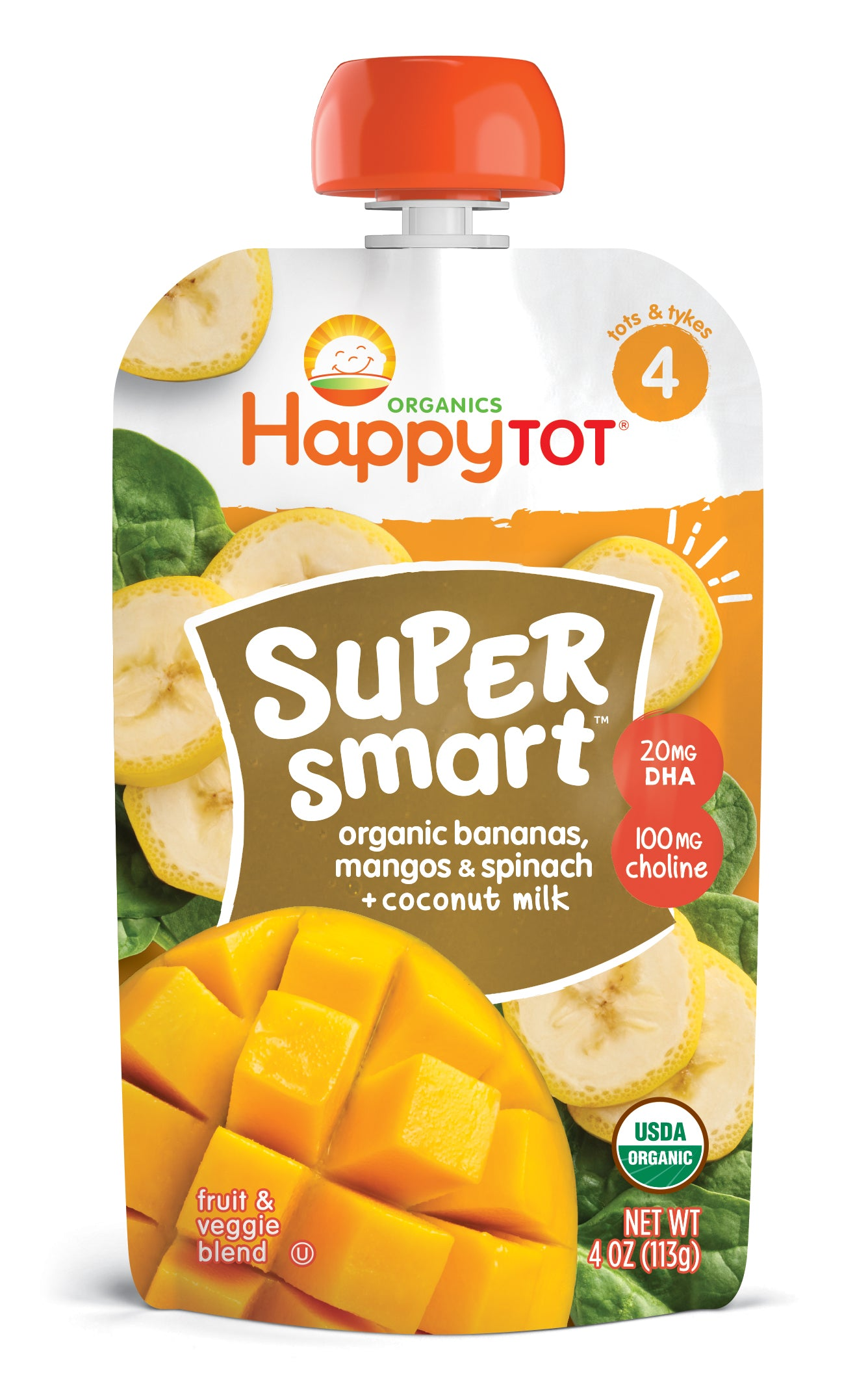 Happy Family Happy Tot Super Smart - Bananas Mangos Spinach + Coconut Milk, 113 g.