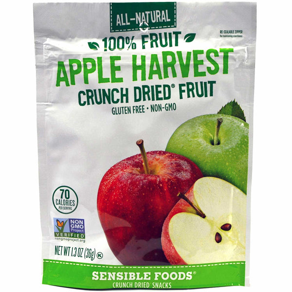 Sensible Foods All-Natural 100% Fruit Apple Harvest Crunch Dried Fruit, 37g.