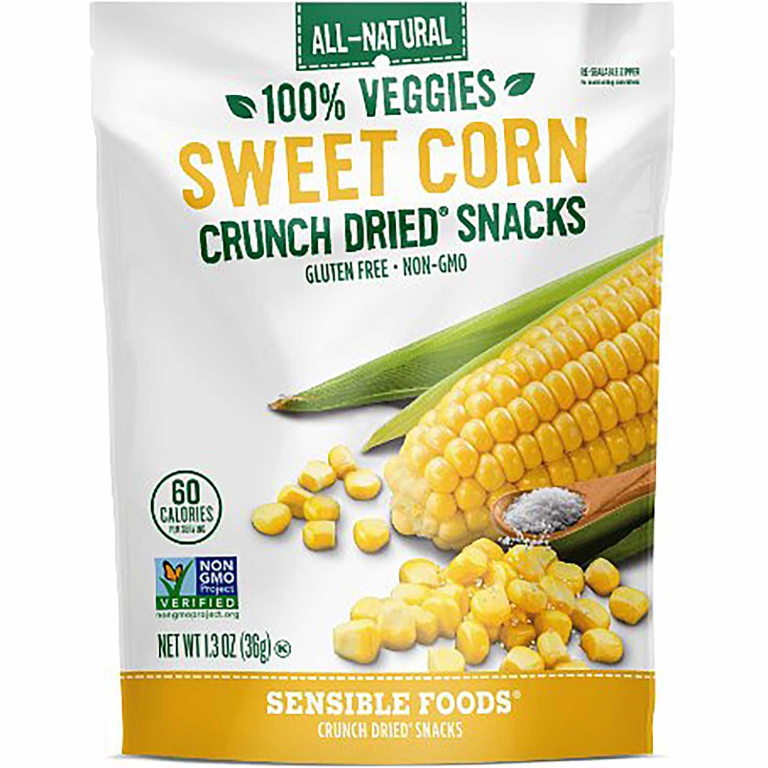 Sensible Foods All-Natural 100% Veggies Sweet Corn Crunch Dried Snack, 37g.-NaturesWisdom