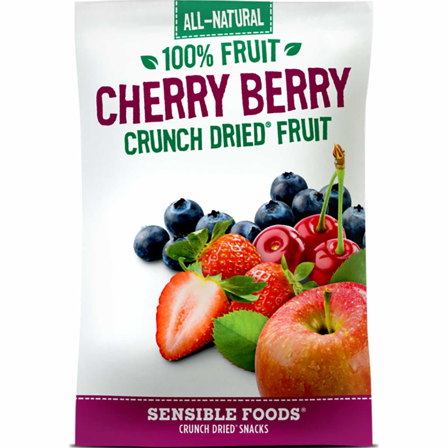 Sensible Foods All-Natural 100% Fruit Cherry Berry Crunch Dried Fruit, 37g.-NaturesWisdom