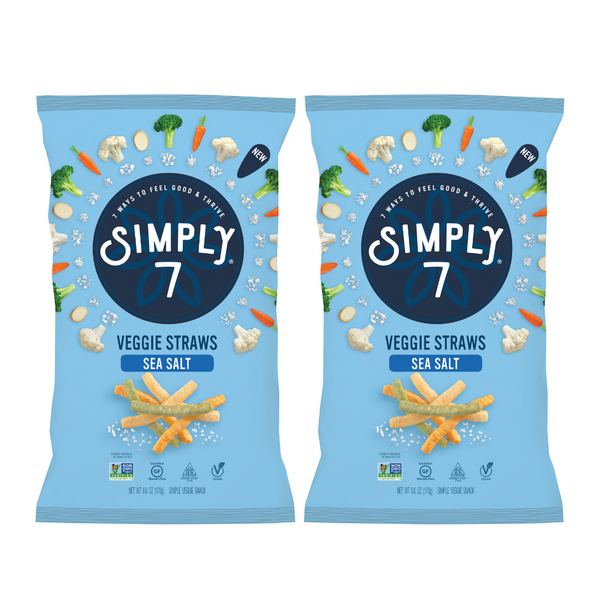25% Off [Bundle of 2] Simply 7 Veggie Straws- Sea Salt, 170g.