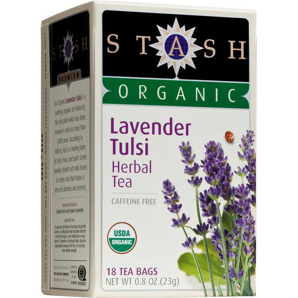 Stash Tea Company Lavender Tulsi Herbal (>95% Organic), 18 bags