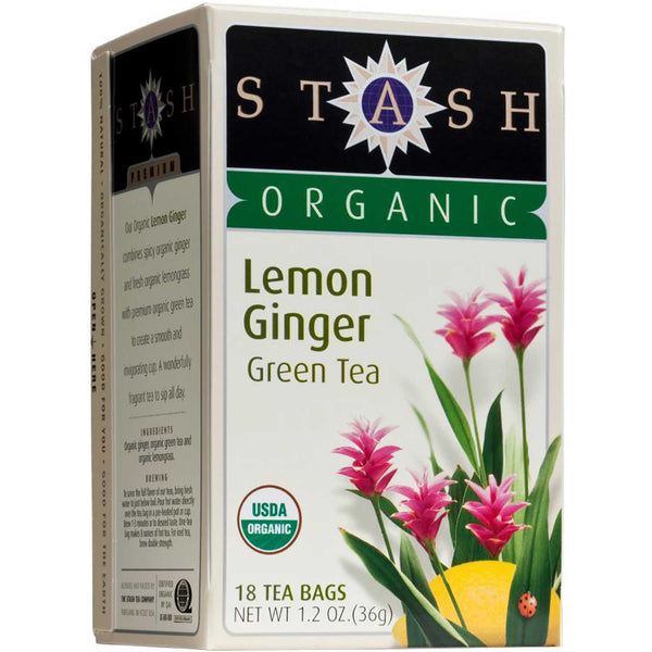 Stash Tea Company Lemon Ginger Green (>95% Organic), 18 bags