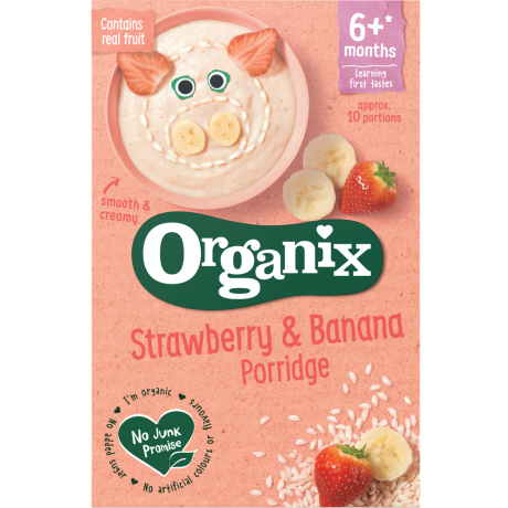 Organix Organic Strawberry & Banana Porridge, 120 g.