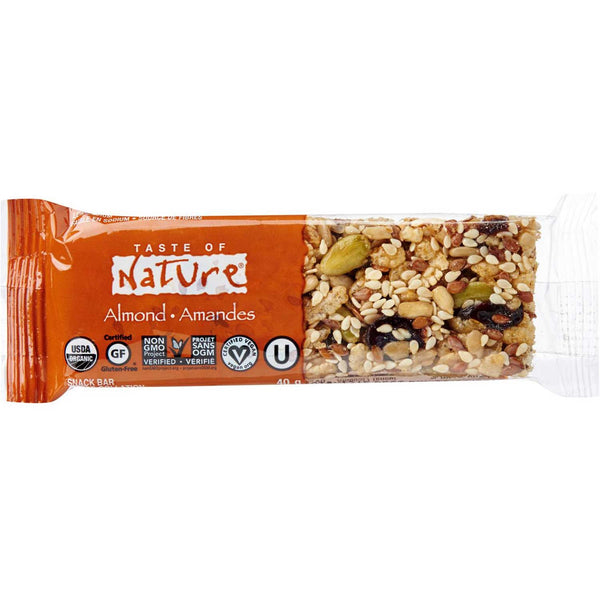 Taste of Nature Organic Food Bar -  Almond, 40g.