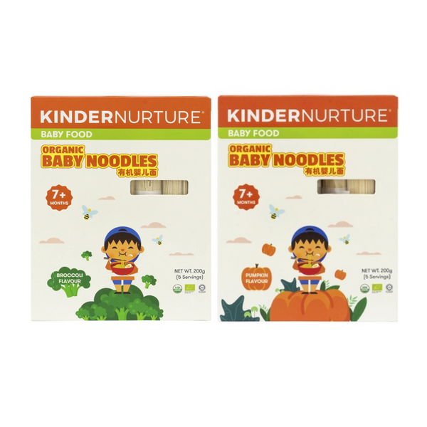 20% off [Bundle Deal ]KinderNurture Organic Baby Noodles- Broccoli Flavour + Pumpkin Flavour.