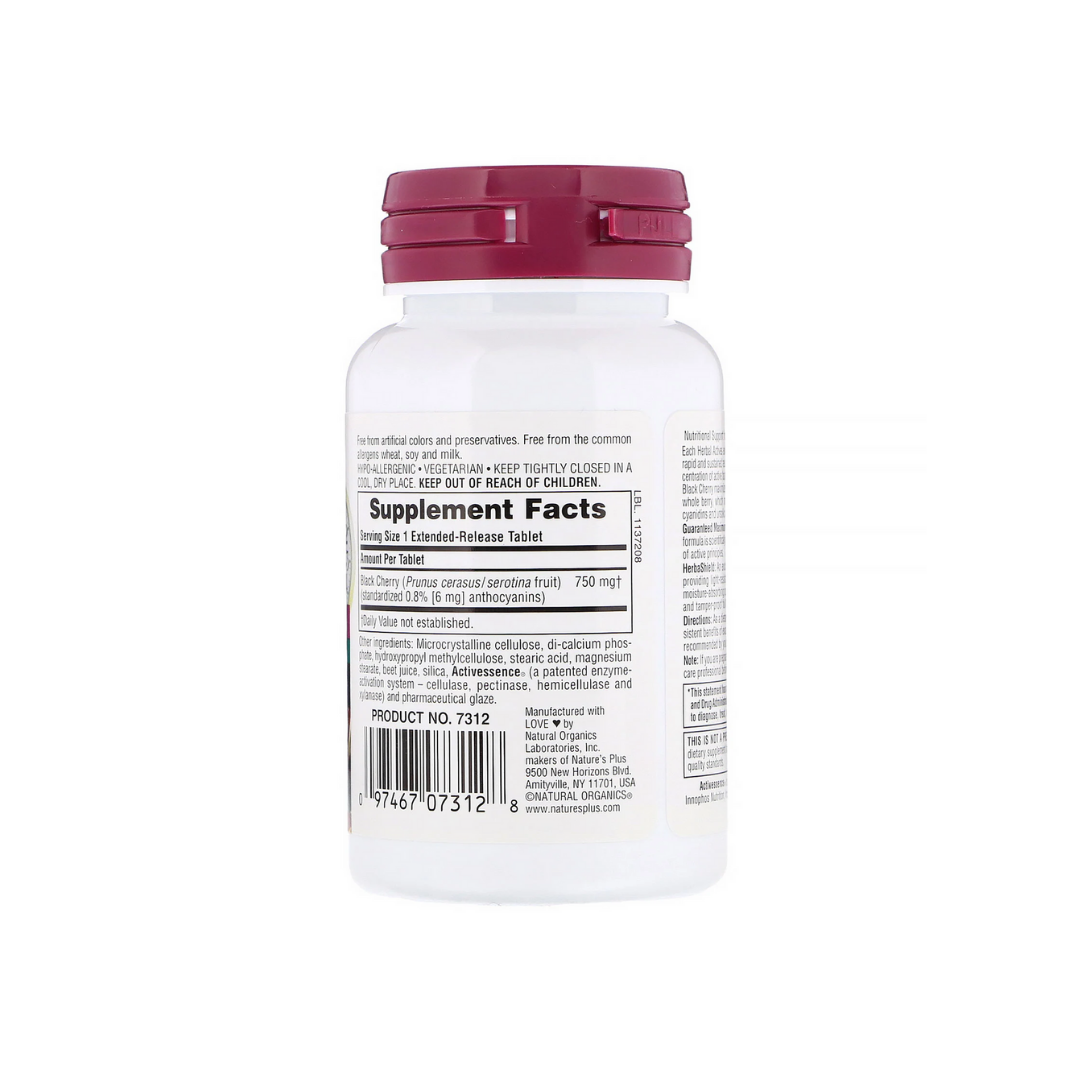 Natures Plus HerbalActives Black Cherry 750 mg w/Activessence (Extended Release), 30 tabs.