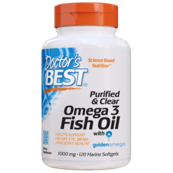Doctor's Best Purified & Clear Omega 3 Fish Oil, 120 sgls