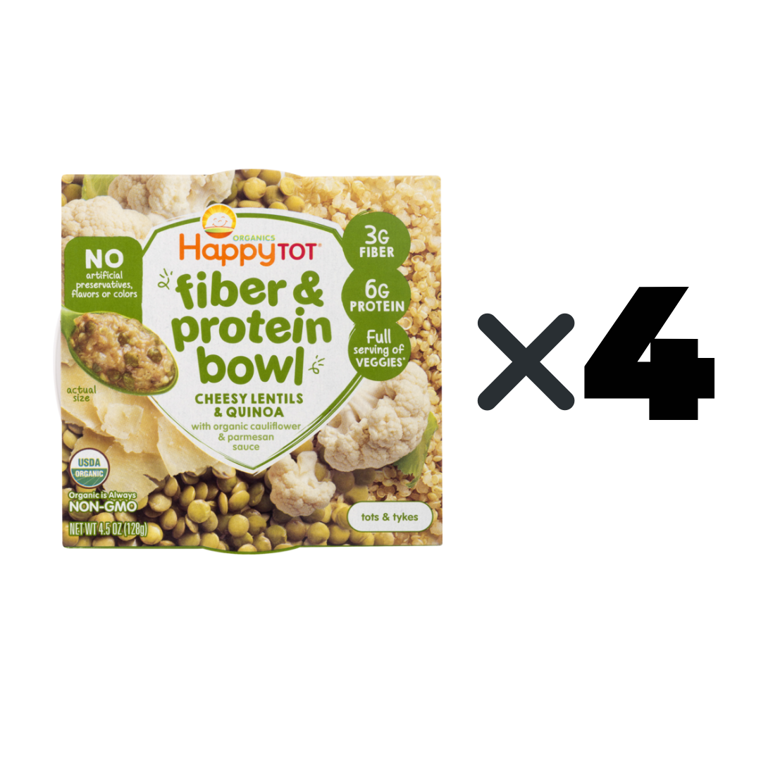 50% Off [Bundle of 4]Happy Family Happy Tot Fiber & Protein Bowl Cheesy Lentils & Quinoa with Organic Cauliflower & Parmesan Sauce, 128 g.( Expiry: July2020)