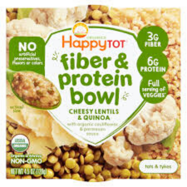 Happy Family Happy Tot Fiber & Protein Bowl Cheesy Lentils & Quinoa with Organic Cauliflower & Parmesan Sauce, 128 g.( Expiry: July2020)
