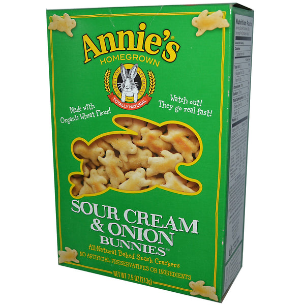 Annie's Homegrown Cheddar Bunnies - Sour Cream & Onion, 213g.