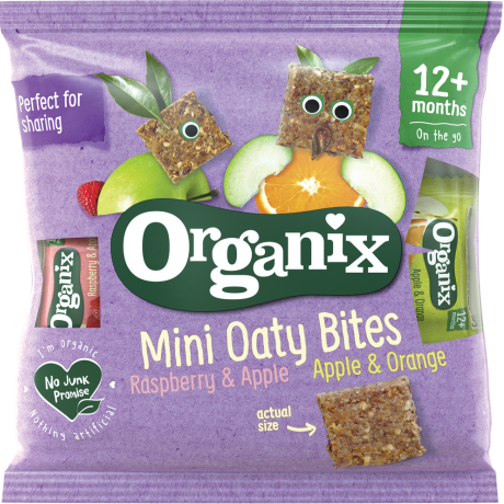 Organix Goodies Organic Mini Oaty Bites (Apple & Orange/Raspberry & Apple), 11 x 10g.