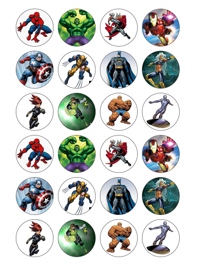 Avengers Edible Cupcake Toppers