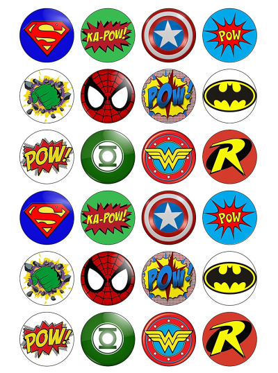 Avengers Justice League Edible Cupcake Toppers