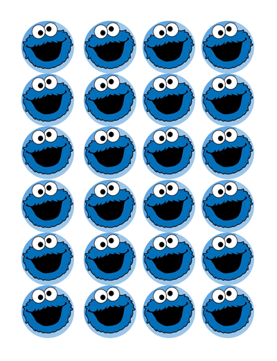 Cookie Monster Edible Cupcake Toppers