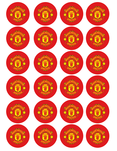 Manchester United Edible Cupcake Toppers