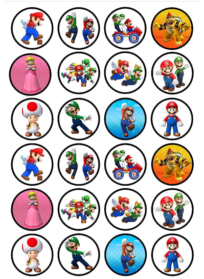 Super Mario Edible Cupcake Toppers