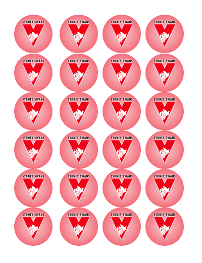 Sydney Swans Edible Cupcake Toppers