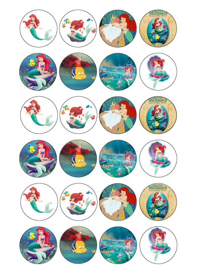 Ariel Edible Cupcake Toppers