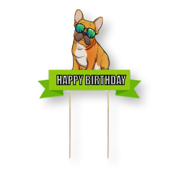 French Bulldog Card Cake Topper