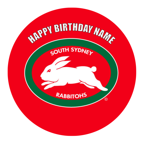 South Sydney Rabbitohs Edible Cake Topper