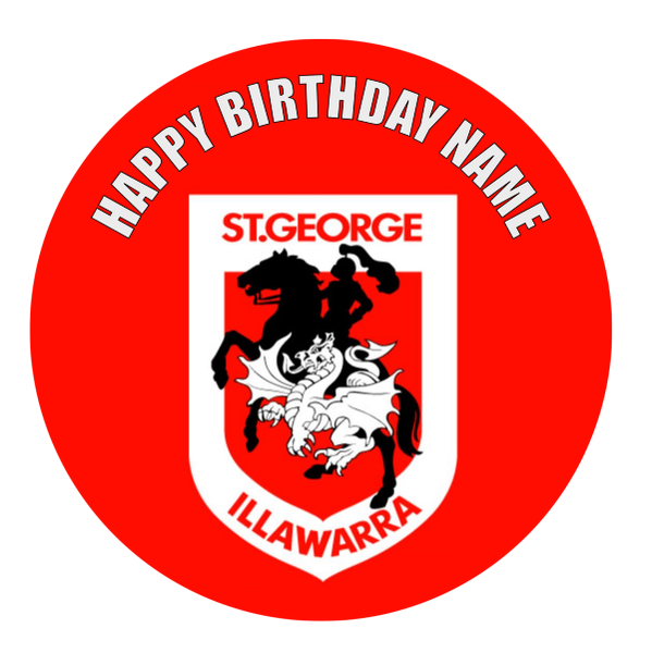 St George Illawarra Dragons Edible Cake Topper