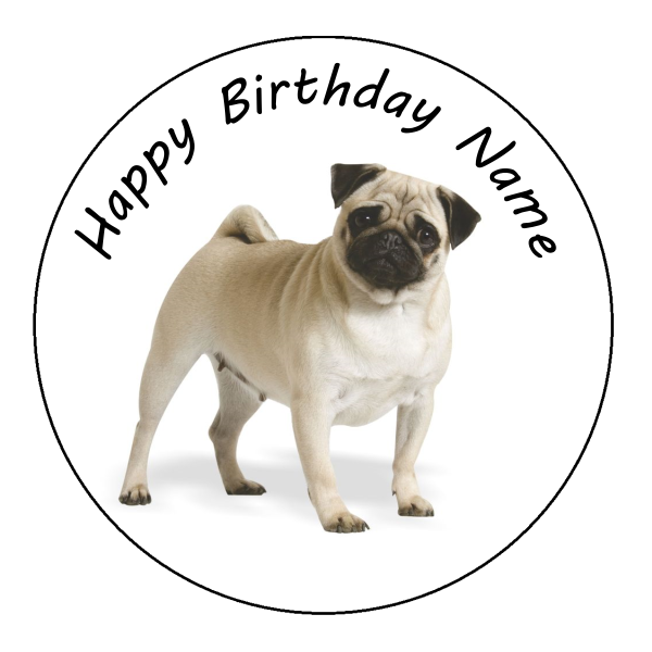 Pug Dog Edible Cake Topper