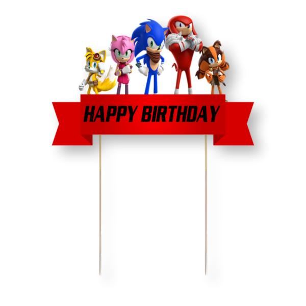 Sonic the Hedgehog Card Cake Topper