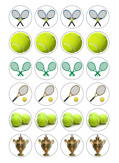 Tennis Edible Cupcake Toppers