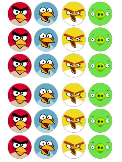 Angry Birds Edible Cupcake Toppers