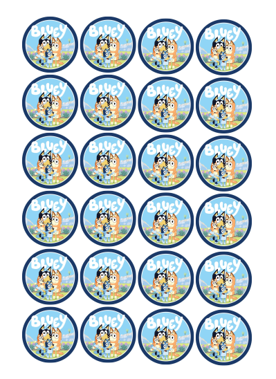 Bluey Edible Cupcake Toppers