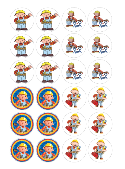 Bob the Builder Edible Cupcake Toppers
