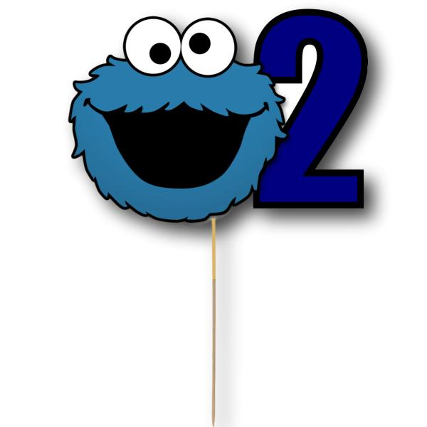 Cookie Monster Card Cake Topper
