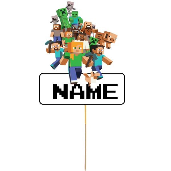 Minecraft Card Cake Topper