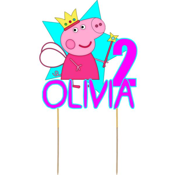 Peppa Pig Card Cake Topper