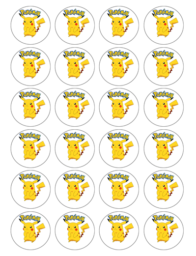 Pokemon Pikachu Edible Cupcake Toppers
