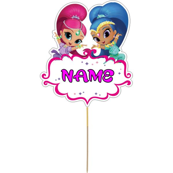 Shimmer and Shine Card Cake Topper