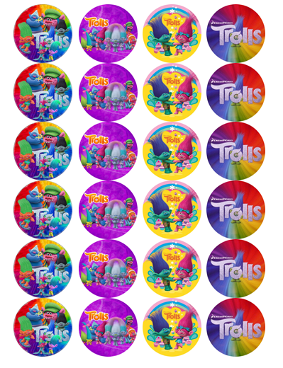 Trolls Edible Cupcake Toppers Viparty