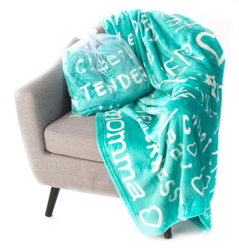 Mother Throw Blanket for Loving, Kind & Inspiring Moms (Teal)