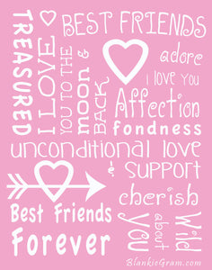 I love You Throw Blanket The Perfect Caring Gift for Best Friends, Couples & Family, (Pink)