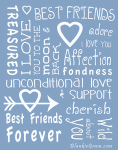 I love You Throw Blanket The Perfect Caring Gift for Best Friends, Couples & Family, (Blue)