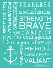 Load image into Gallery viewer, Bravery Inspirational Throw Blanket Strength & Encouragement (Teal)