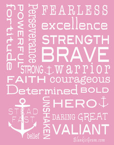 Bravery Inspirational Throw Blanket For Strength & Encouragement (Pink)