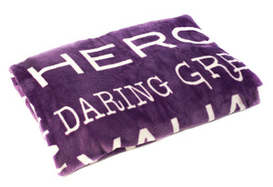 Bravery Inspirational Throw Blanket For Strength & Encouragement (Purple)
