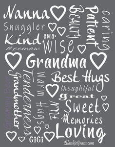 Grandmother Throw Blanket for Kind Loving and Inspiring Grandmas The Perfect Caring Gift (Grey)